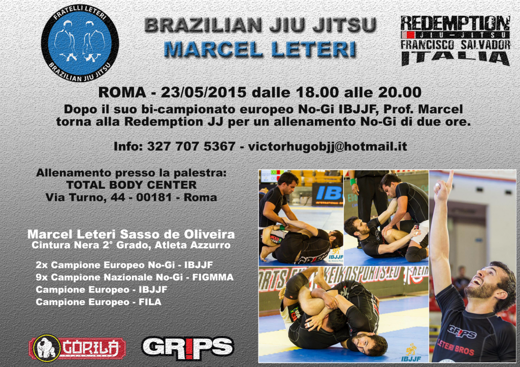 Prof. Marcel Leteri, seminario di Brazilian Jiu Jitsu a Roma
