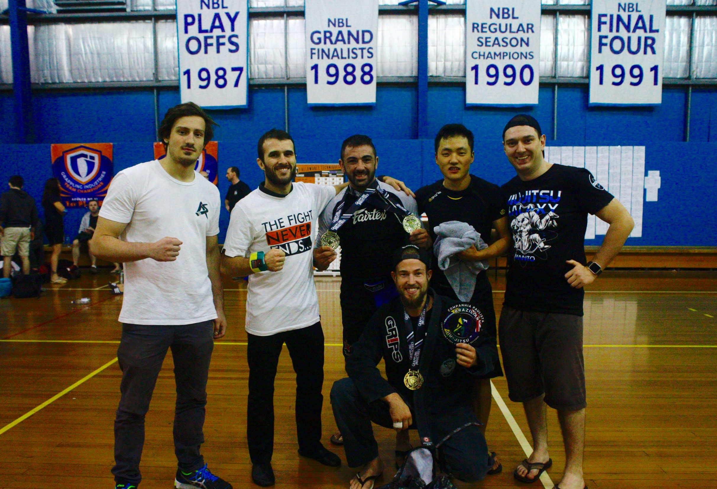 Coach Marcel Leteri Sasso de Oliveira and his DMD'S MMA competition team at the 2017 Grappling Industries in Melbourne.