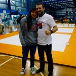 Coach Marcel Leteri Sasso de Oliveira and Laura working at the 2017 Grappling Industries in Melbourne.